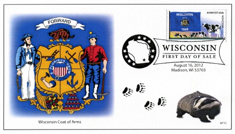 2012 Flags of Our Nation coil Wisconsin first day cover
