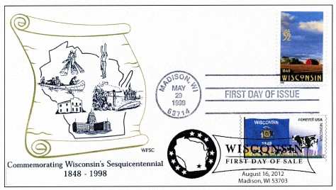 2012 Flags of Our Nation coil Wisconsin and 1998 Wisconsin Sesquicentennial dual-cancel first day cover